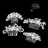 Teenitor 4 Pcs Bridal Wedding Hair Clip Comb Decorative Flower Crystal Rhinestones Pearls Women Ladies Barrette Headpiece Silver