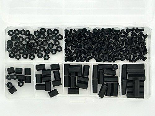 Preisvergleich Produktbild Electronics-Salon M2, 5 schwarz Nylon Hex F Spacer f / Schraube / Mutter-Set sortiert,  für raspberry-pi,  Pattsituation