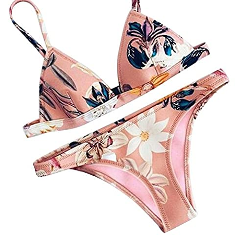 Damen Bikini-Set Internet Push-up gepolsterte BH Bikini Set Badeanzug Beachwear (XL, rosa) (Umstands Printed)