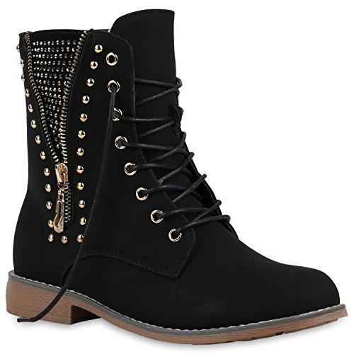 Stiefelparadies Damen Schnürstiefeletten Zipper Nieten Schuhe Strass Schnürschuhe Boots Coole Leder-Optik Schnürer Flandell Schwarz Strass
