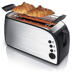 Arendo - Automatik Toaster Langschlitz | Defrost Funktion | wärmeisolierendes Gehäuse | Abnehmbarer Brötchenaufsatz | 1200W-1500W | 7 Stufen | herausziehbare Krümelschublade