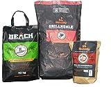BlackSellig 10 Kg Beach Kokos Grill Briketts Reach registriert + 10 Kg Steakhouse Kohle Reach registriert + 50 Stück natürliche Anzünder perfekte Profiqualität