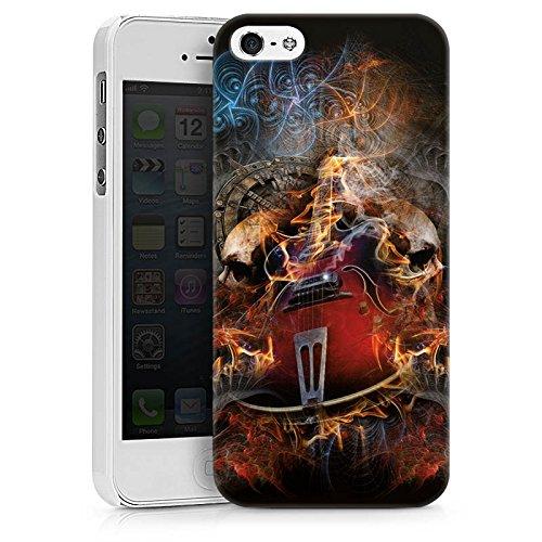 Apple iPhone X Silikon Hülle Case Schutzhülle Gitarre Totenkopf Skull Hard Case weiß