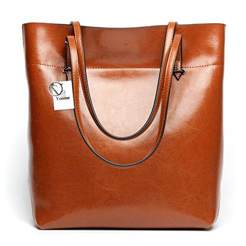 Yoome Borsa da donna vintage in vera pelle borse a spalla in vera pelle morbida vacchetta borse vera borsa in pelle - Borgogna Marrone