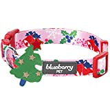 Blueberry Pet Festtagsfreude Geheimer Garten Baby-Pinkes Designer Hundehalsband, L, Hals 45cm-66cm, Verstellbare Halsbänder für Hunde