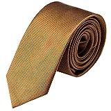 Krawatte 8cm Breite gestreift | Hellbraune Rips Herrenkrawatte zum Sakko | Schlips Binder einfarbig Braun mit feinen Streifen