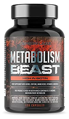 Metabolism Beast | Hardcore Fat Burner Supplement with Biotin which contributes to Normal macronutrient Metabolism | 60 Servings by Demon Labz