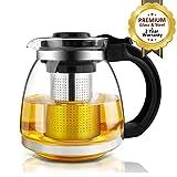 Glas Teekanne mit-Ei – 1500 ml, AckMond Tee Pot Kunststoff Griff & Edelstahl Filter für Blooming & Loose Tee – Maker Brewer & Steiler
