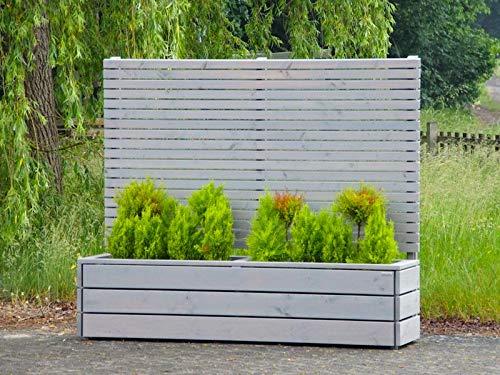 binnen-markt Pflanzkasten Holz Lang L mit Sichtschutz, Transparent Grau