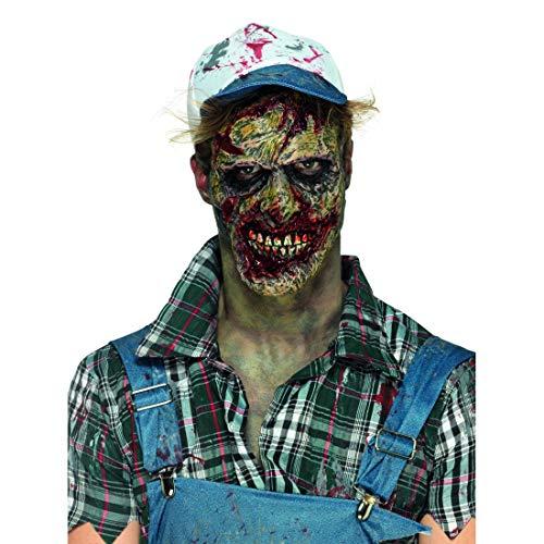 NET TOYS Blutige Latex-Maske Zombie | Mit Kleber | Schaurige Herren-Maskerade blutverschmierter Serien-Killer Trucker | Bestens geeignet für Horror-Party & Halloween