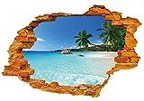 WandSticker4U- 3D Wandtattoo: Urlaubsinsel | 50x70 cm | Meer Strand Ozean Palme Mauer Insel Urlaub Himmel Landschaft | Wandbild Poster Deko Fototapete für Wohnzimmer Schlafzimmer Badezimmer Küche