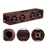 KTLEU 12W Holz Lautsprecher Bluetooth 4.2 Lautsprecher mit 12 Stunden Laufzeit Stereo Sound Effekte (Rotes Holz)