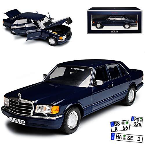 Norev Mercedes-Benz 560 SEL S-Klasse Dunkel Blau W126 1979-1991 1/18 Modell Auto mit individiuellem Wunschkennzeichen (126 Mercedes)