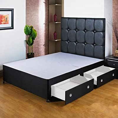 Hf4You 5Ft Kingsize Black Divan Bed Base - 2 Drawers - Foot End - Small Black Faux Leather H/B produced by Hf4you - quick delivery from UK.