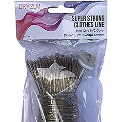 DRYZEM corde à linge vêtements Coeur en acier longue vie forte extra à toute épreuve lavage 30m Approx 100pi