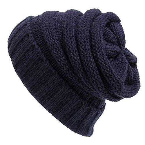 Eizur Donne Lavorato a Maglia Cappello Tessono Inverno Caldo Berretto di Lana Beanie Hat Baggy Crochet Cap Slouch Cuffia - Blu