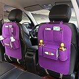 JIBO Autositz Zurück Aufbewahrungstasche Filz Sitzsack Auto Innentaschen Autositz Zurück Aufbewahrungsbeutel 41 * 56Cm(Zwei Packungen),Purple