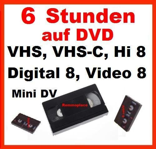 6 Stunden, VHS,VHS-C,Digital 8,Hi8, MiniDv,Digitalisieren auf DVD Digital 8-mm-video