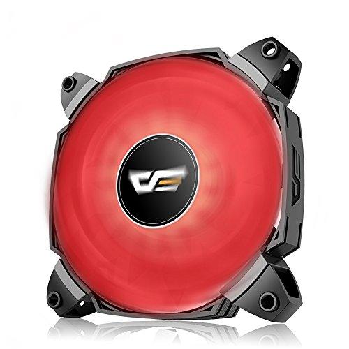 LED Gehäuselüfter, AIGO 120mm PWM Dual Blades Gehäuselüfter Hydraulische Lagerung High Airflow Quiet Edition CPU Kühler & Radiatoren für Computergehäuse (Rot)