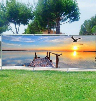 Stickersnews - Brise vue personnalisé, jardin, terrasse, balcon déco Ponton mer réf 9111 Occultation - 100%, Dimensions - 180x70cm