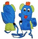 Unbekannt Handschuhe / Fausthandschuhe - mit langem Schaft - lustiges 3-D Gesicht - blau / bunt - Gr. 3 bis 4 Jahre - Thermo gefüttert Thermohandschuhe - wasserdicht + ..