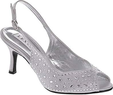Lexus A023 Alicia ladies medium heel sling back shoe encrusted with heatseal diamantes(8, Lt Grey)