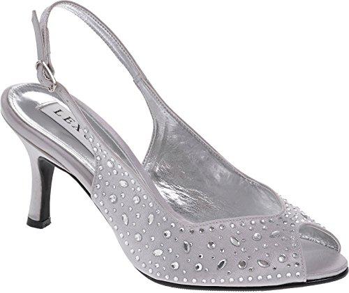 Lexus A023 Alicia ladies medium heel sling back shoe encrusted with heatseal diamantes(8, Lt Grey) Alicia Sling