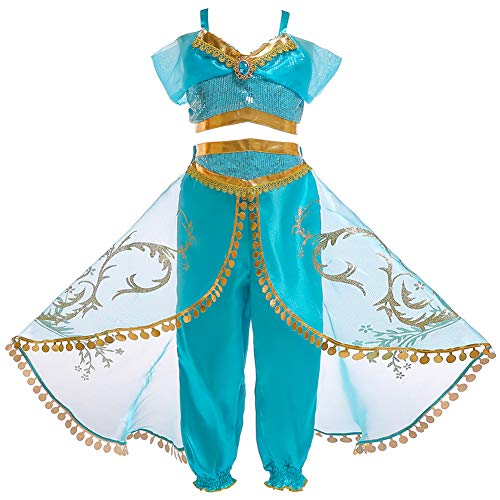 Prinzessin Kostüm Jasmin Baby - JK Mädchen Prinzessin Jasmin Kostüm Arabische Pailletten Prinzessin Dress Up Aladdin Jasmin Halloween Party Dress Up für Kinder, 110