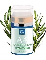 Crème Hydratante Anti Acne à l' Arbre à Thé ( huile de théier) et Aloe Vera 50 ml - 100% Naturel Hydratant Facial Quotidien Anti Acne Unisex