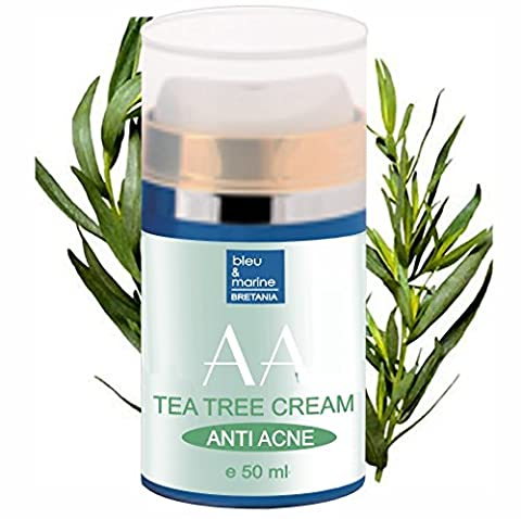 TEA TREE ANTI PIMPLE & ACNE FACIAL MOISTURIZER 50 ml - with ALOE VERA and TEA TREE OIL - 100% Natural by bleumarine Bretania