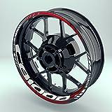 Felgenaufkleber Set HONDA CB 1000R für Motorrad   17 Zoll   Felgenrandaufkleber & Felgenbettaufkleber   Vorder- & Hinterreifen Komplett-Set (Einfach - matt)