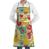 rwwrewre Kitchen Bib Apron Rabbit Holiday Flower Party Adjustable for Cooking Baking Kitchen Restaurant Crafting BBQ Uni
