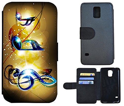 Coque Flip Cover Housse Etui Case Pour, Tissu, 1069 Totenkopf Skull, Apple iPhone 6 / 6s 1065 Musik Noten Blau Gelb