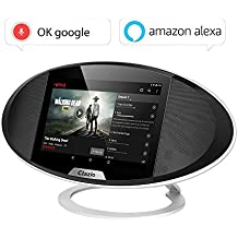 Clazio Altavoz portátil Bluetooth o, radio del Internet de WIFI, altavoz 2 * 5W, androide 6.0, WIFI HDMI, control de la voz de Alexa y OK Google, altavoz sin hilos touchable para el golf, la playa, la ducha, el hogar y más, negro