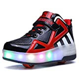 Unisex Enfants Chaussures LED,Single Doubles roulettes, Bouton Poussoir Ajustable,Inline Skates Baskets Chaussures de Multisports Outdoor Course à Pied Sneakers