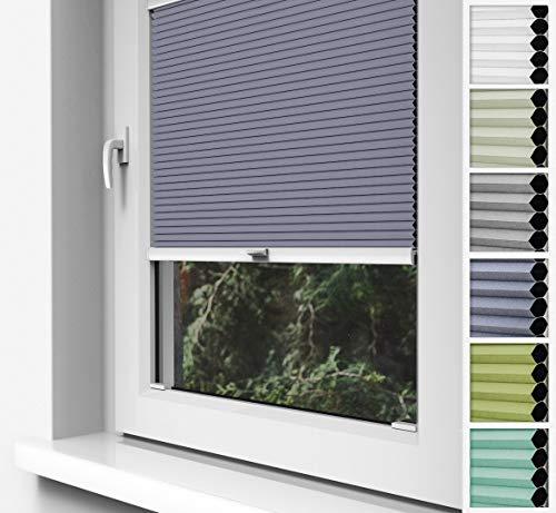 Home-Vision Doppelplissee Wabenplissee zum Anschrauben in der Glasleiste Innenrahmen (Weiß-Graphit, B75cm x H200cm) Zweifarbig Blickdicht Jalousie mit Halterungen zum Bohren, Sonnenschutzrollo Rollo -