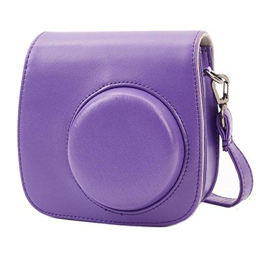 Leebotree Tasche Kompatibel mit Instax Mini 9 / Mini 8 8+ Sofortbildkamera aus Weichem Kunstleder mit Schulterriemen und Tasche (Lila) - Lila 9
