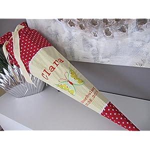 #16 Schmetterling gelb-rot Schultüte Stoff + Papprohling + als Kissen verwendbar
