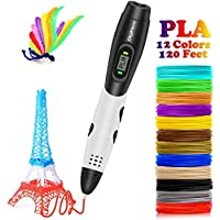 DigiHero 3D Pen with LCD screen, 3D Printing pen with 1.75mm PLA filament Pack of 12, Each color 10 Feet, 3D Print Pen is for Kids, Adults …
