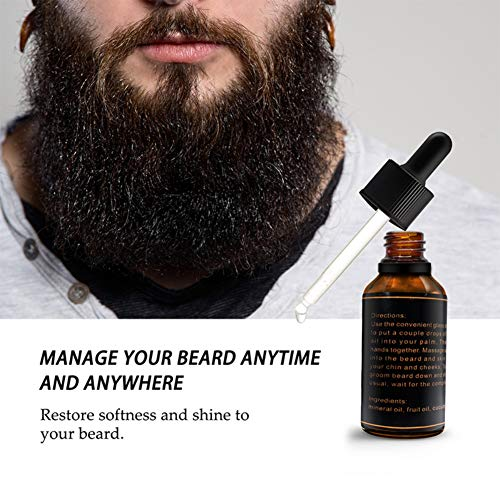 Élixir de croissance de barbes, huile naturelle et organique de KISSION Baume de barbe de cire la barbe douce de l'homme et s'arrête la démangeaison de barbe (A)
