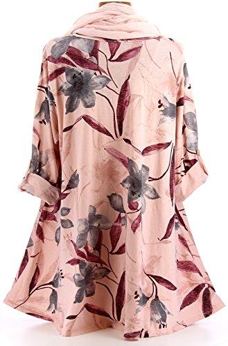 Charleselie94® - Tunique longue + foulard bohème grande taille rose ROMANO ROSE Rose
