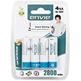 Envie 4xAA 2800mAH Ni-MH Rechargeable Batteries (White)