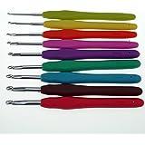 """Juego de agujas de ganchillo """"Cheffort"""", 9 piezas, juego de agujas de ganchillo, empuñadura ergonómica, juego de colores brillantes y divertidos, 9 tamaños, regalo para madre, juego de agujas de ganchillo de aluminio"""