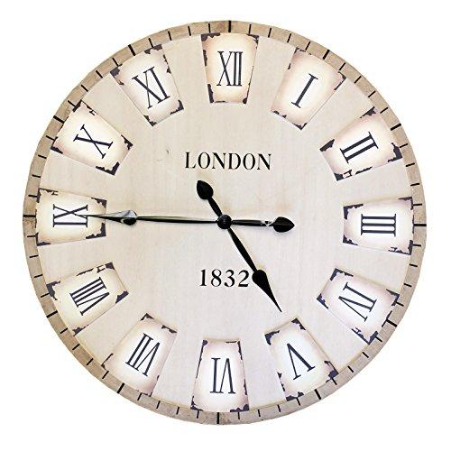 Bid Buy Direct® 80cm grande decorativo reloj de pared   país Toscano estilo–silencioso, Non-ticking Retro de madera reloj de pared