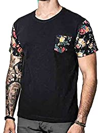 junkai Camiseta de Verano para Hombres, Estampado de Flores de la Vendimia Camisa Patchwork con Bolsillo Informal Cuello Redondo Verano Blusa Casual Tops