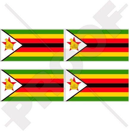 SIMBABWE Flagge, Fahne Afrika Simbabwisch 50mm Auto & Motorrad Aufkleber, x4 Vinyl Stickers