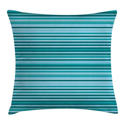 MLNHY Striped Decor Throw Pillow Cushion Cover, Long Narrow Linear Bands Decorative Streaks Geometric Grids Graphic, Decorative Square Accent Pillow Case, 18 X 18 inches, Teal Navy Blue -