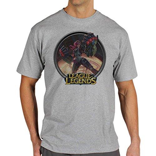League Of Legends Champion Character Art Vi Button Herren T-Shirt Grau