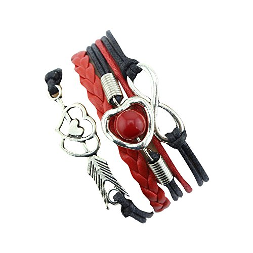 Sunnywill 1pc Infinity Liebe Herz Perle Freundschaft Antikleder Bettelarmband (Schwarz + rot) (Yoga Infinity-armband)