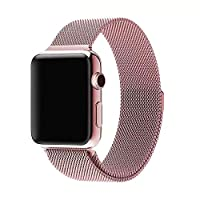 Milanese Loop Watch Band for 38mm/40mm Apple Watch, Stainless Steel iWatch Replacement Strap, Pinke